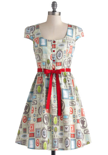 Creative Portrait Dress - Multi, Novelty Print, Buttons, Belted, Casual, Quirky, A-line, Cap Sleeves, Better, Scoop, Cotton, Woven, Mid-length