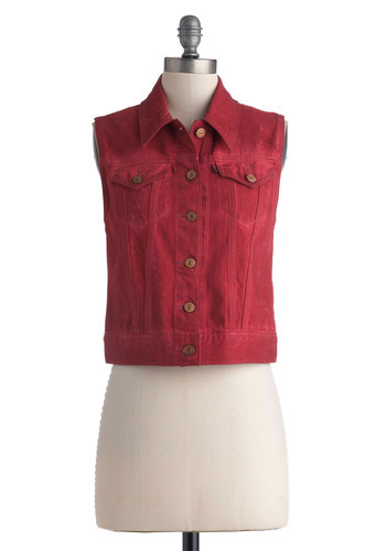 Asbury Park Picnic Vest by Levi's - Short, Cotton, Denim, Red, Solid, Buttons, Pockets, Casual, Sleeveless, Collared, Fall