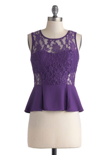I Light the Nightlife Top - Purple, Solid, Lace, Girls Night Out, Peplum, Tank top (2 thick straps), Short, Party, Sheer, Scoop, Statement, Purple, Sleeveless