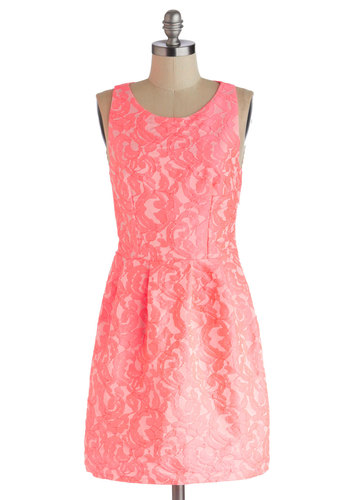 Your Name in Neon Dress - Mid-length, Pink, Cutout, Lace, Party, Shift, Sleeveless, Scoop, Neon, Summer