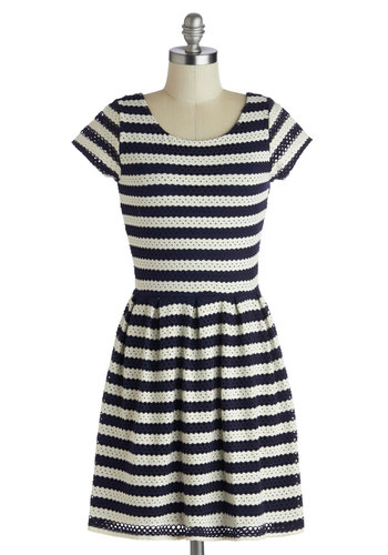 Birthday Off Dress - Mid-length, Blue, Stripes, Eyelet, Casual, Nautical, A-line, Cap Sleeves, Scoop, Cotton, White