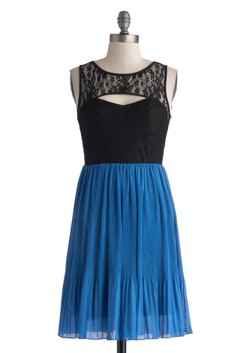 Pros and Confluence Dress - Mid-length, Blue, Black, Backless, Cutout, Lace, Party, Twofer, Sleeveless, Scoop, Pleats, Girls Night Out, A-line