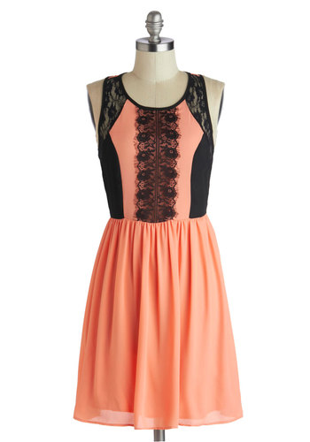 Passion Guava Punch Dress - Mid-length, Coral, Black, Exposed zipper, Lace, Party, A-line, Racerback, Scoop
