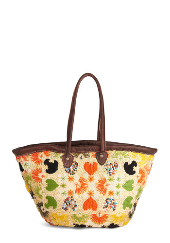 Roamin' Holiday Bag - Multi, Print, Embroidery, Sequins, Trim, Better, Leather, Tan / Cream, Casual, Beach/Resort, Boho, Travel