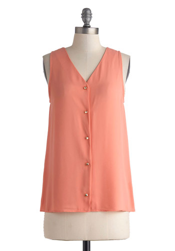 Salon and On Top - Mid-length, Pink, Solid, Buttons, Casual, Sleeveless, V Neck, Orange, Sleeveless