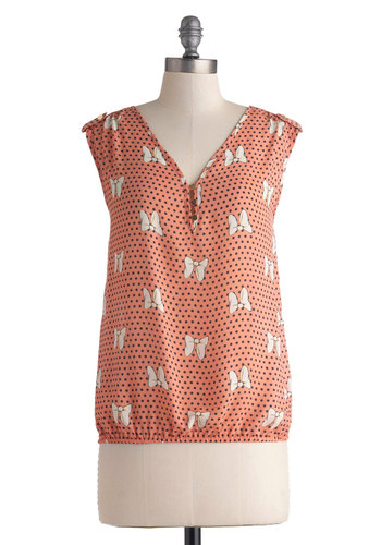 Bow Yeah! Top - Mid-length, Pink, White, Polka Dots, Novelty Print, Buttons, Epaulets, Casual, Sleeveless, V Neck