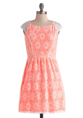 Neon the Guest List Dress - Short, Pink, White, Lace, Trim, Party, A-line, Cap Sleeves, Scoop, Solid, Daytime Party, Neon, Sheer