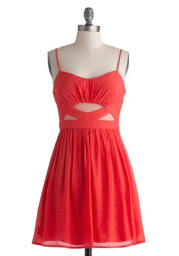 The Watermelon's Fine Dress - Solid, Cutout, Party, A-line, Spaghetti Straps, Sweetheart, Coral, Girls Night Out, Summer, Cotton, Sheer