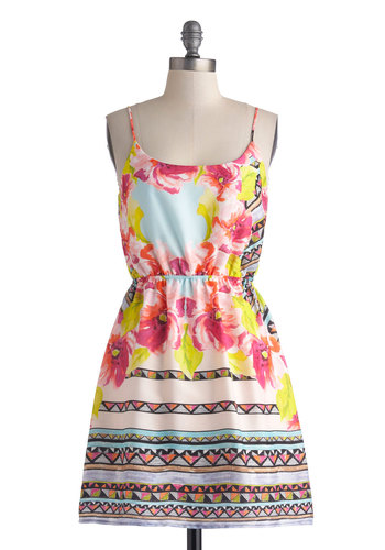 Sketchbook Showing Dress - Mid-length, Multi, Floral, A-line, Spaghetti Straps, Scoop, Print, Casual, Daytime Party, Summer, Statement