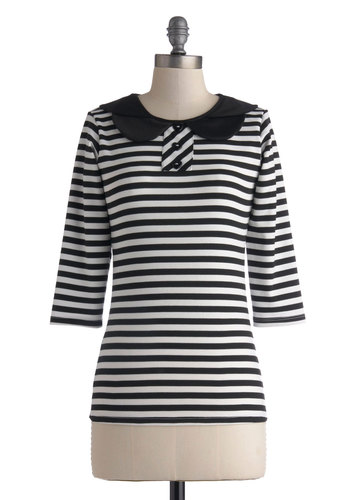 Look Book Top - Mid-length, Black, White, Stripes, Peter Pan Collar, Casual, 3/4 Sleeve, Collared