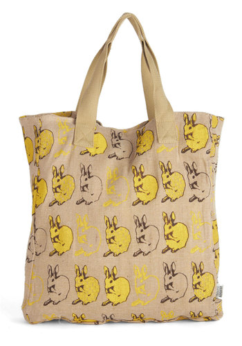 Bibliotheque Bounce Tote - Tan, Black, Print with Animals, Casual, Yellow, Eco-Friendly, Work