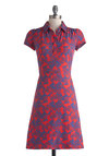 Museum Cafe Dress - Mid-length, Red, Blue, Buttons, A-line, Cap Sleeves, Collared, Print, Work, Casual, Shirt Dress, Statement