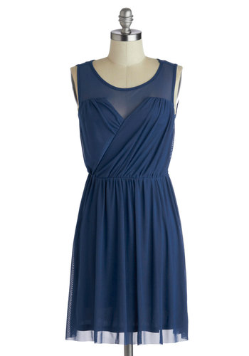Any Swish Way Dress by Jack by BB Dakota - Blue, Solid, Party, A-line, Sleeveless, Scoop, Ruching, Wedding, Sheer, Bridesmaid, Mid-length