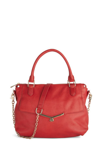 Botkier Have a Red Leather Day Bag - Solid, Work, Luxe, Leather, Red