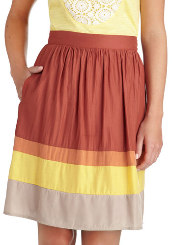Juice Bar Maven Skirt - Orange, Yellow, Tan / Cream, Stripes, A-line, Exclusives, Casual, Mid-length, Woven, Spring, Summer, Winter