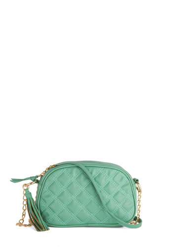 The Good Ole Maize Bag in Mint - Faux Leather, Mint, Gold, Solid, Quilted, Tassles, Good, Chain, Pastel, Variation