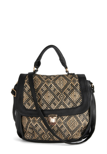 A Diamond a Day Bag - Faux Leather, Black, Tan / Cream, Print, Good, Work