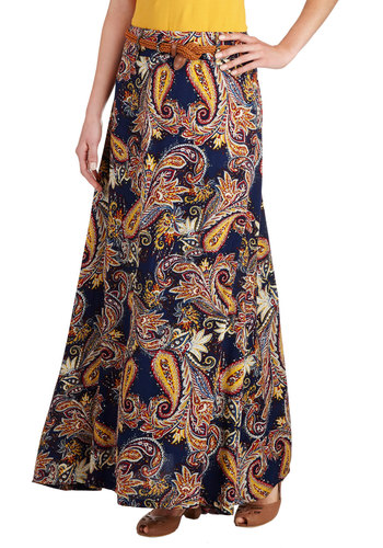 All Who Wander Skirt - Long, Blue, Paisley, Belted, Casual, Boho, Maxi, Fall, Blue, Gifts Sale