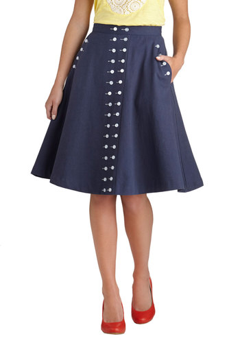 Buttoned Up in Style Skirt - Cotton, Blue, Solid, Buttons, Pockets, Work, Daytime Party, Nautical, Pinup, Vintage Inspired, Exclusives, A-line, Blue, Mid-length