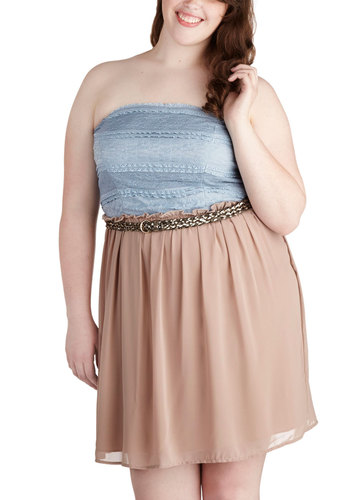 Sparkle in Motion Dress in Plus Size - Blue, Tan / Cream, Lace, Party, Empire, Strapless, Belted, Twofer, Summer