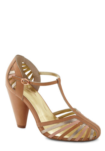 Tempest Heel in Tan by Seychelles - Tan, Multi, Solid, Cutout, Party, Daytime Party, High, Leather, Faux Leather, T-Strap, Best, Strappy