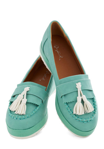Tassel on a Cloud Flat - Mint, White, Tassels, Menswear Inspired, Good, Low, Solid, Casual, Pastel, Scholastic/Collegiate, Faux Leather