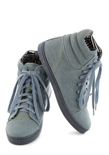 Hi-Top the Charts Sneaker - Blue, Solid, Casual, Urban, Flat, Good, Lace Up, Vintage Inspired, 80s, 90s, Denim, Fall