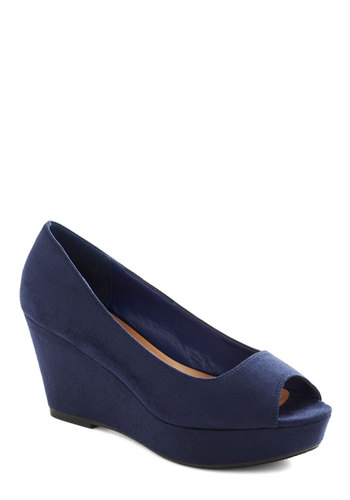 Lost and Fountain Wedge - Blue, Solid, Wedding, Daytime Party, Graduation, Mid, Good, Platform, Wedge, Peep Toe, Party