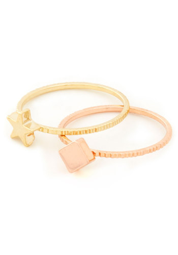 Subtle Splendor Ring Set - Gold, Solid, Pink, Minimal