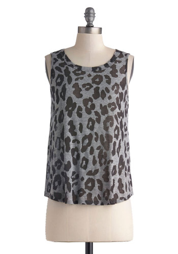 Wear a Jungle Out There Top - Sheer, Grey, Black, Animal Print, Casual, Safari, Sleeveless, Summer, Scoop, Mid-length, Halloween, Grey, Sleeveless