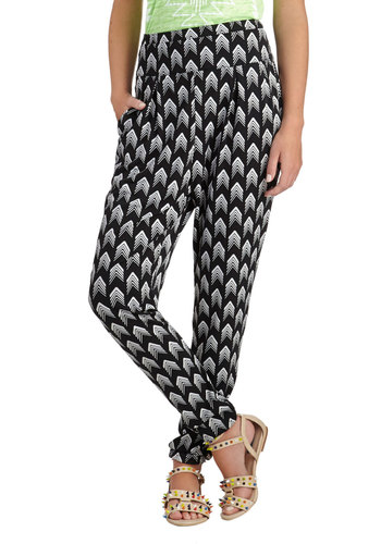 This Way Up Pants - Black, White, Print, Pockets, Casual, Statement