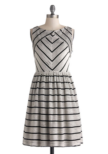 Paper Mache Anything Dress - Mid-length, Black, White, Stripes, A-line, Sleeveless, Boat, Work