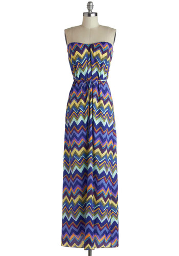 Party on the Porch Dress - Purple, Multi, Chevron, Belted, Casual, Maxi, Strapless, Good, Sweetheart, Boho, Long, Chiffon