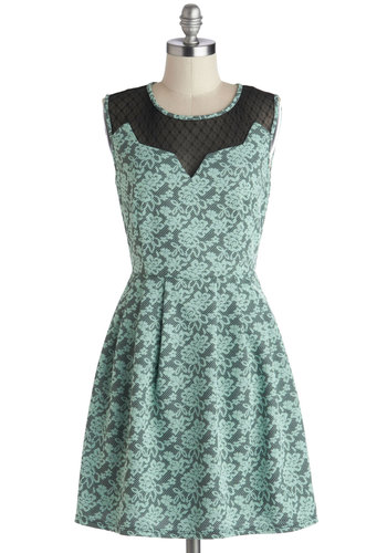 Last Day of Vacay Dress - Black, Lace, Party, A-line, Sleeveless, Good, Mint, Mid-length, Sweetheart, Woven, Lace