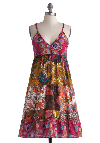 Creative Collection Dress - Cotton, Sheer, Mid-length, Floral, Casual, Empire, Spaghetti Straps, Good, V Neck, Multi, Print, Boho, Vintage Inspired, 70s, Summer