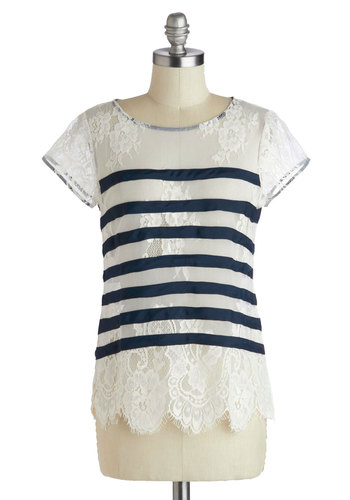 Feeling Finery Top - White, Stripes, Lace, Sheer, Mid-length, Blue, Scallops, Daytime Party, French / Victorian, Short Sleeves, Scoop