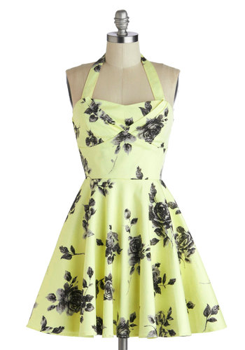 Traveling Cupcake Truck Dress in Lemon Roses - Cotton, Yellow, Black, Floral, Party, Fit & Flare, Halter, Good, Sweetheart, Vintage Inspired, 50s, Summer, Variation, Short