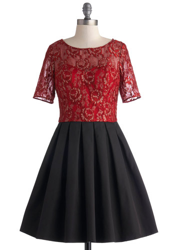 Garnet at the Gala Dress by Chi Chi London - Red, Black, Gold, Lace, Pleats, Cocktail, Fit & Flare, Short Sleeves, Scoop, Sheer, Woven, Mid-length, Party, Lace