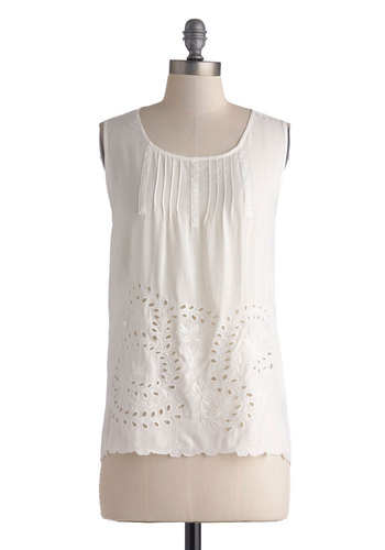 Piece of Cakewalk Top - White, Solid, Embroidery, Casual, Sleeveless, Mid-length, Summer, Sheer, Scoop, Boho
