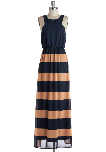 Pier Review Dress - Blue, Tan / Cream, Stripes, Casual, Maxi, Sleeveless, Good, Nautical, Long, Woven