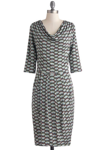 Fine and Fan-cy Dress - Multi, Print, Work, Shift, Cowl, 3/4 Sleeve, Better, Long, Knit