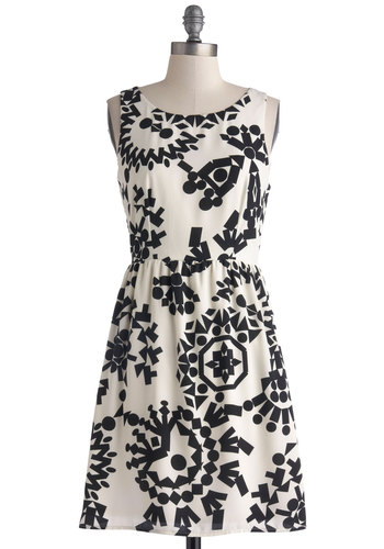Ceramist's Inspiration Dress - White, Black, Print, Casual, A-line, Sleeveless, Good, Scoop, Exposed zipper, Woven, Short
