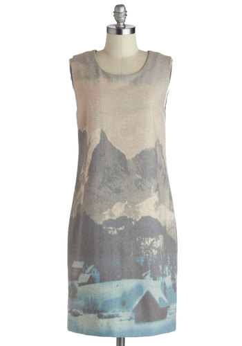 Cabin with a View Dress by Nice Things - Multi, Print, Casual, Shift, Sleeveless, Best, Scoop, Exposed zipper, Mid-length