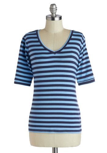 One Shade or Another Top - Cotton, Mid-length, Blue, Stripes, Casual, 3/4 Sleeve, V Neck, Blue, Short Sleeve, Top Rated