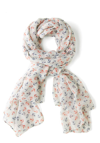 Seafaring Well Scarf - Sheer, White, Red, Blue, Nautical, Novelty Print