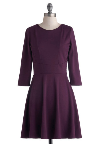 Currant Event Dress by Jack by BB Dakota - Mid-length, Purple, Solid, Cutout, Casual, A-line, Long Sleeve, Good, Crew, Minimal, Work, Winter