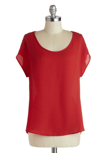 Roadside Fruit Stand Top - Chiffon, Mid-length, Red, Solid, Cutout, Short Sleeves