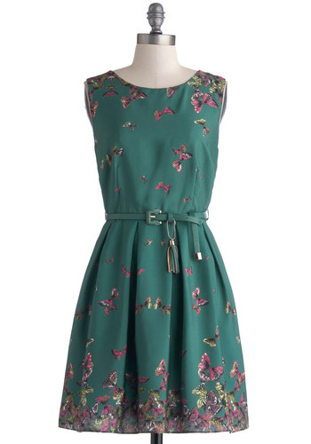 On a Breeze Dress by Darling - Print with Animals, Belted, Green, Purple, Pink, Party, A-line, Sleeveless, Pleats, Work, Crew, Better, Woven, Mid-length, Tassles