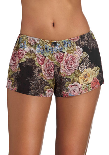 What's the Stitch? Sleep Shorts by Only Hearts - Black, Multi, Floral, Satin