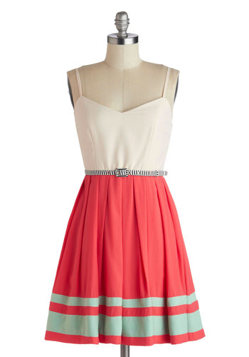 Backstage Lass Dress - Short, Blue, Coral, Pleats, Belted, A-line, Spaghetti Straps, Sweetheart, Better, Tan / Cream, Party, Daytime Party, Summer